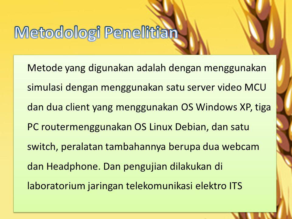 Metode yang digunakan adalah dengan menggunakan simulasi dengan menggunakan satu server video MCU dan dua client yang menggunakan OS Windows XP, tiga