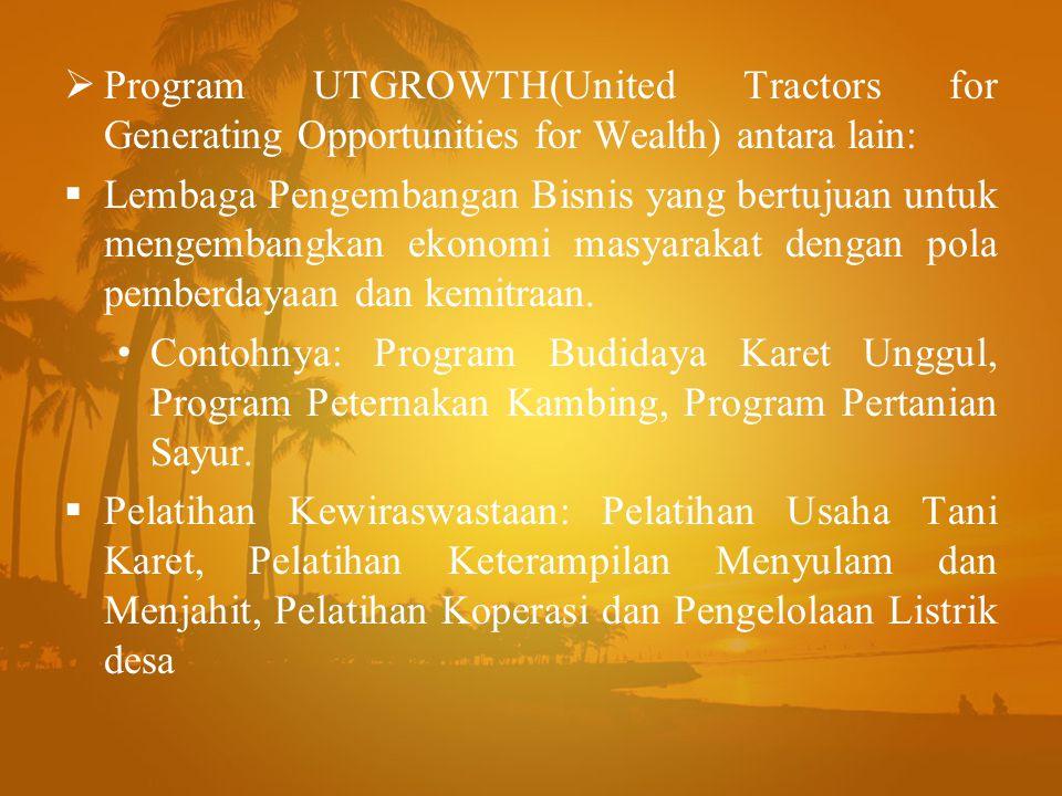  Program UTGROWTH(United Tractors for Generating Opportunities for Wealth) antara lain:  Lembaga Pengembangan Bisnis yang bertujuan untuk mengembang