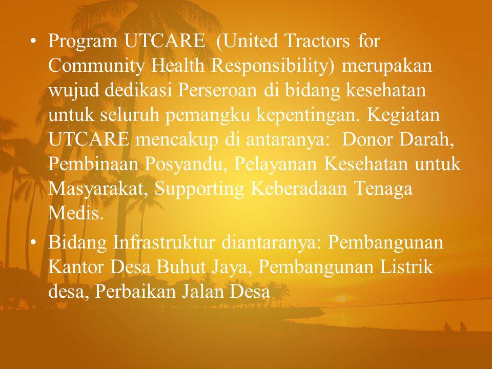 Program UTCARE (United Tractors for Community Health Responsibility) merupakan wujud dedikasi Perseroan di bidang kesehatan untuk seluruh pemangku kep
