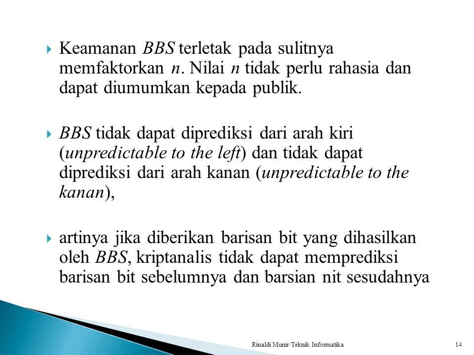 Keamanan BBS terletak pada sulitnya memfaktorkan n. Nilai n tidak perlu rahasia dan dapat diumumkan kepada publik.  BBS tidak dapat diprediksi dari