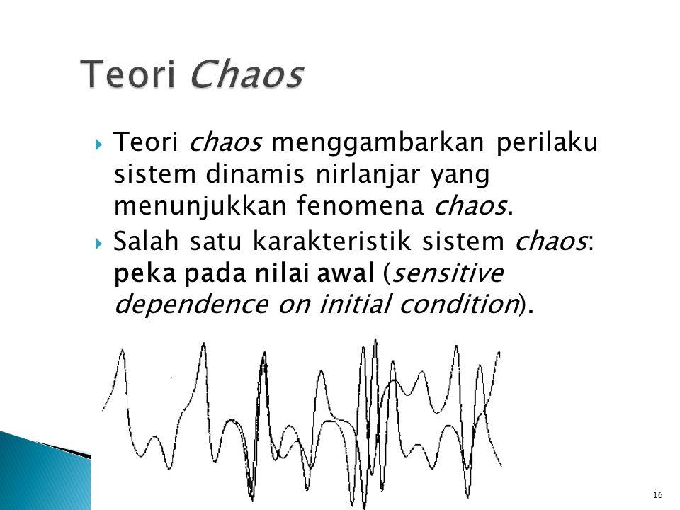  Teori chaos menggambarkan perilaku sistem dinamis nirlanjar yang menunjukkan fenomena chaos.  Salah satu karakteristik sistem chaos: peka pada nila
