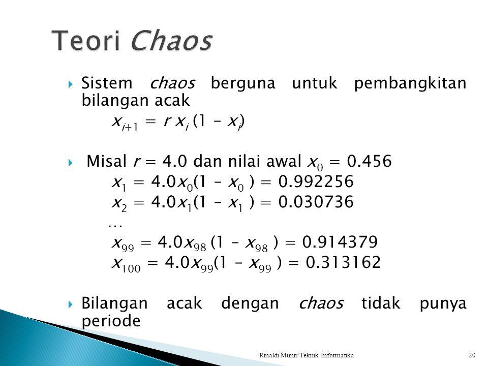  Sistem chaos berguna untuk pembangkitan bilangan acak x i+1 = r x i (1 – x i )  Misal r = 4.0 dan nilai awal x 0 = 0.456 x 1 = 4.0x 0 (1 – x 0 ) =