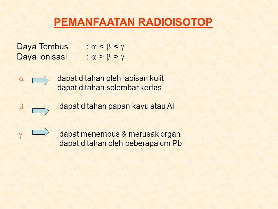 Komponen Debu Radioaktif: 90 Sr, 143 Xe, 143 Cs, 14 C, 3 H  90 Sr mirip dengan Ca t 1/2 = 28 thn masuk ke tubuh melalui susu dan sayuran serta terserap ke dalam tulang merupakan sumber radiasi internal selama beberapa tahun  131 I t 1/2 = 8 hari terbawa mealalui rantai pangan dalam tubuh ada di kelenjar gondok bermanfaat untuk pelacakan diagnostik