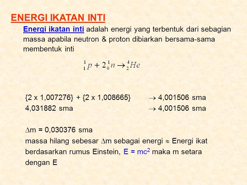 ENERGI IKATAN INTI Energi ikatan inti adalah energi yang terbentuk dari sebagian massa apabila neutron & proton dibiarkan bersama-sama membentuk inti