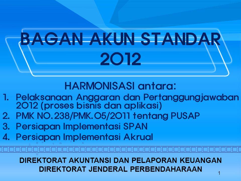 BAGAN AKUN STANDAR 2012 HARMONISASI antara: 1.