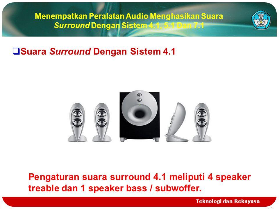 Teknologi dan Rekayasa Menempatkan Peralatan Audio Menghasikan Suara Surround Dengan Sistem 4.1, 5.1 Dan 7.1  Suara Surround Dengan Sistem 4.1 Pengaturan suara surround 4.1 meliputi 4 speaker treable dan 1 speaker bass / subwoffer.