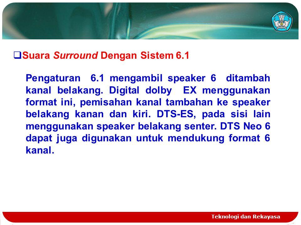Teknologi dan Rekayasa  Suara Surround Dengan Sistem 6.1 Pengaturan 6.1 mengambil speaker 6 ditambah kanal belakang. Digital dolby EX menggunakan for