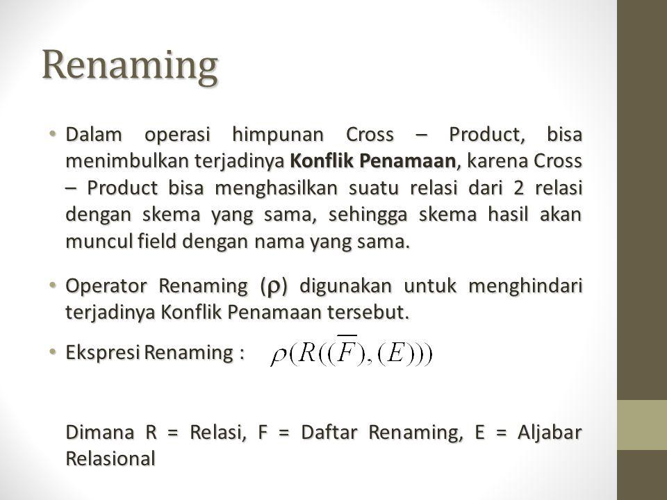 Renaming Dalam operasi himpunan Cross – Product, bisa menimbulkan terjadinya Konflik Penamaan, karena Cross – Product bisa menghasilkan suatu relasi d