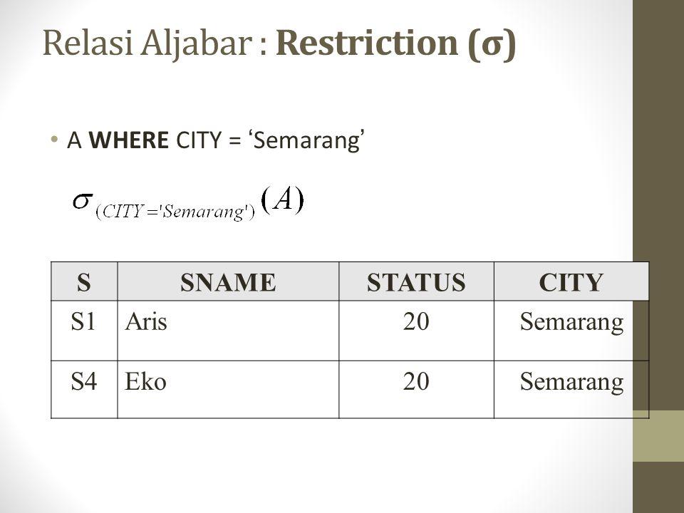 A WHERE CITY = 'Semarang' SSNAMESTATUSCITY S1Aris20Semarang S4Eko20Semarang