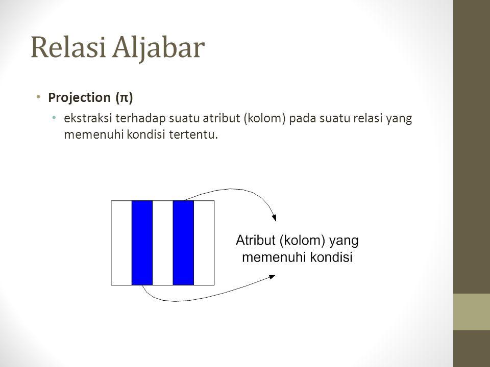 Relasi Aljabar Projection (π) ekstraksi terhadap suatu atribut (kolom) pada suatu relasi yang memenuhi kondisi tertentu.