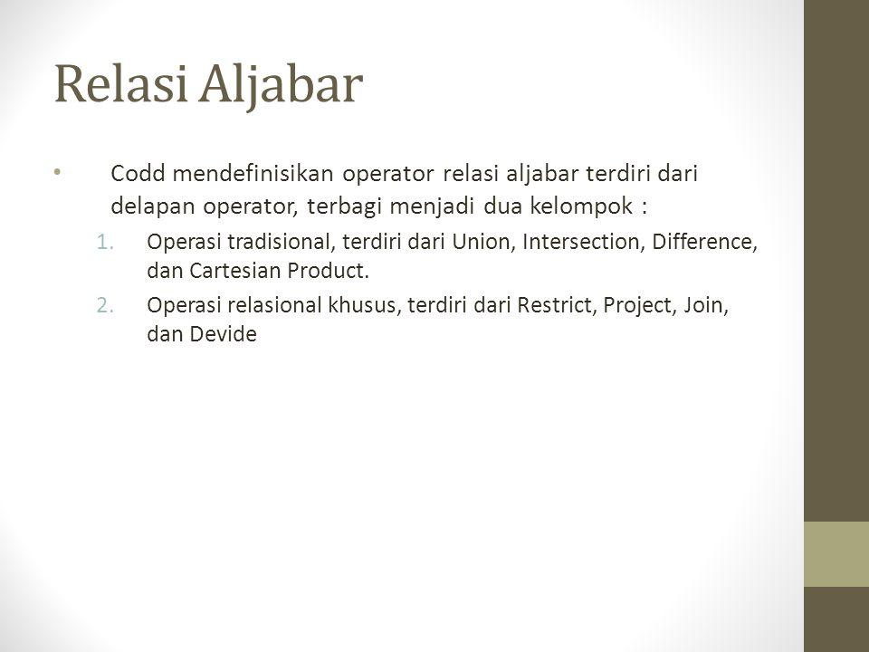 Relasi Aljabar Codd mendefinisikan operator relasi aljabar terdiri dari delapan operator, terbagi menjadi dua kelompok : 1.Operasi tradisional, terdir