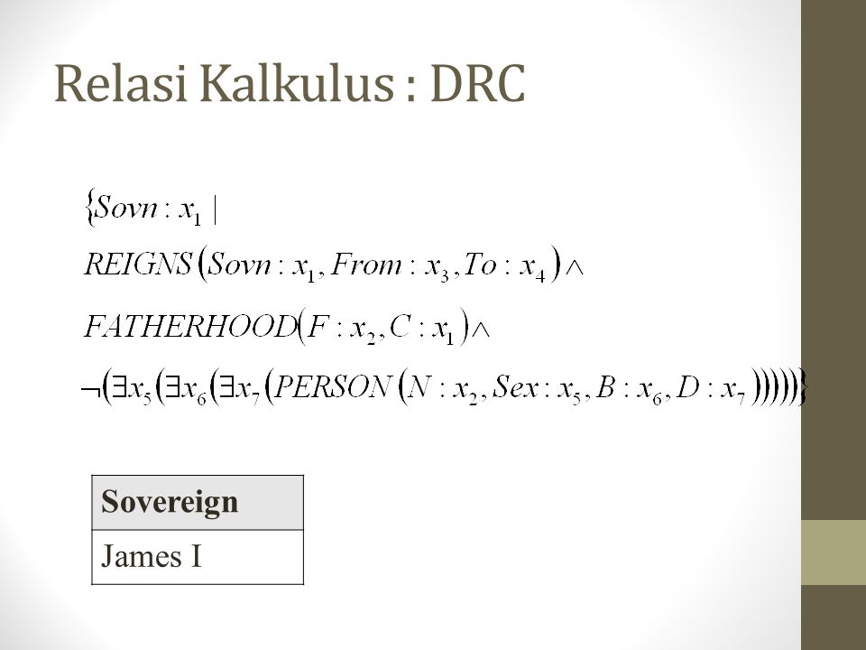 Relasi Kalkulus : DRC Sovereign James I