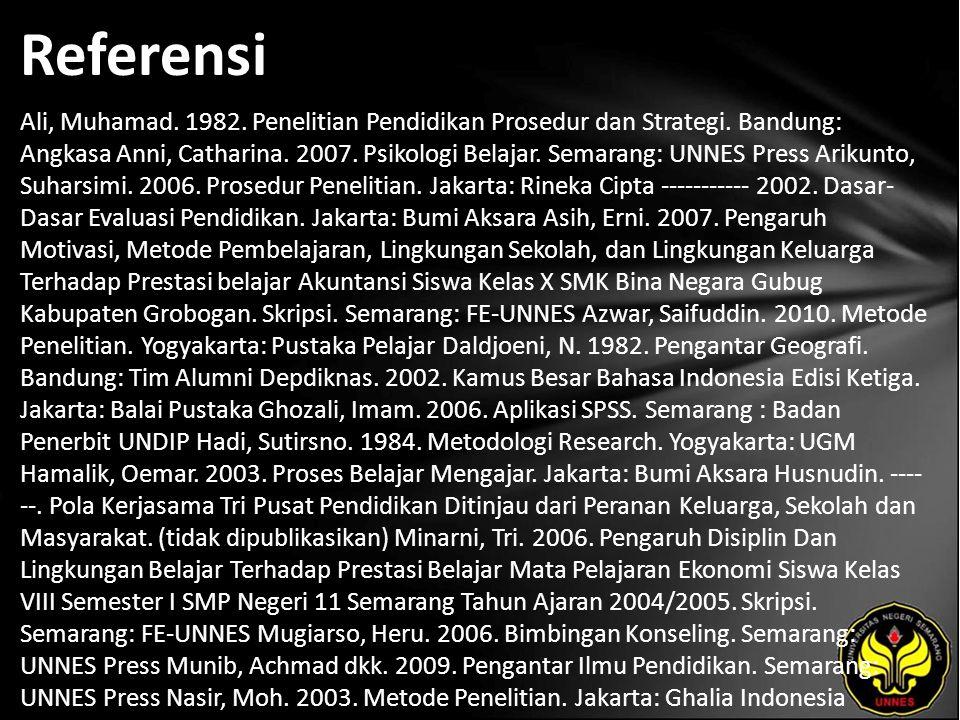 Referensi Ali, Muhamad. 1982. Penelitian Pendidikan Prosedur dan Strategi. Bandung: Angkasa Anni, Catharina. 2007. Psikologi Belajar. Semarang: UNNES