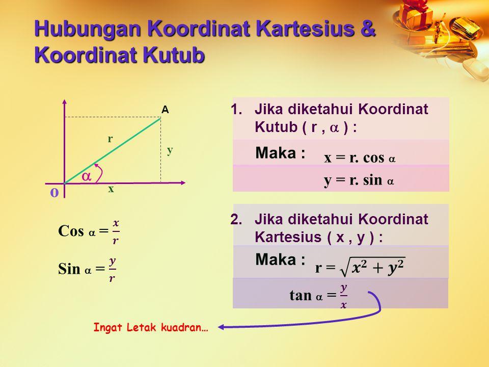 1.Jika diketahui Koordinat Kutub ( r,  ) : Maka : Ingat Letak kuadran… Hubungan Koordinat Kartesius & Koordinat Kutub o A  r x y x = r. cos  y = r