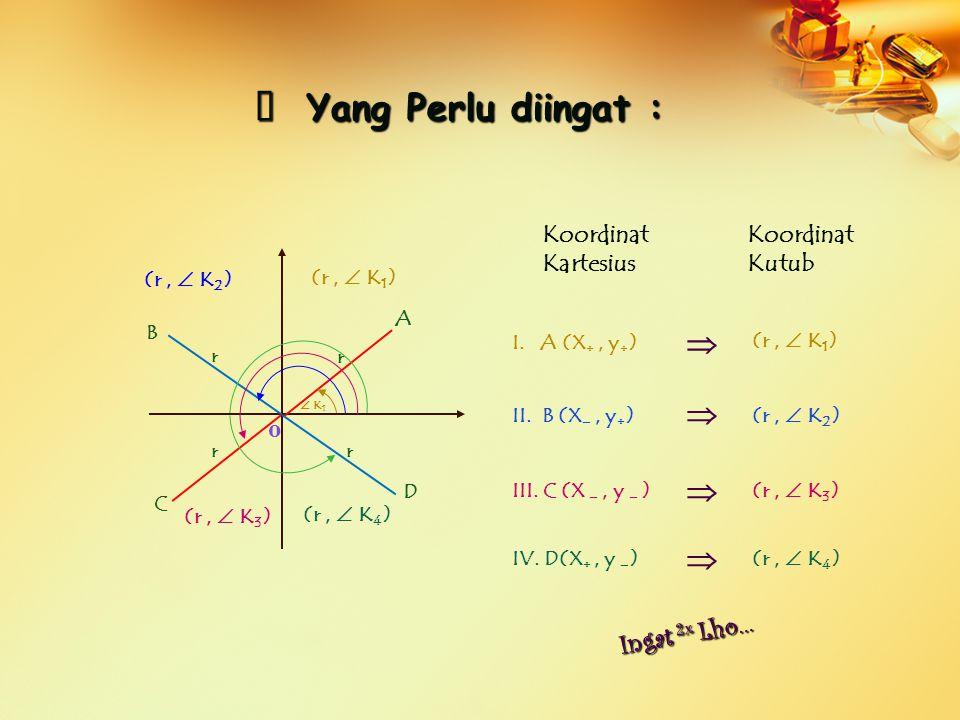 o (r,  K 1 ) (r,  K 2 ) (r,  K 3 ) (r,  K 4 )  K 1 A B C D Coba, Amati perbedaan sudutnya…… ※ P P P Perhatikan contoh berikut : Koordinat Kartesius Koordinat Kutub (4  2, 45 0 ) I.