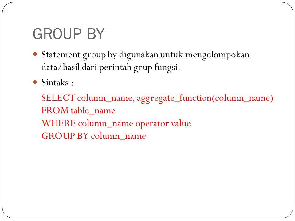 GROUP BY Statement group by digunakan untuk mengelompokan data/hasil dari perintah grup fungsi.