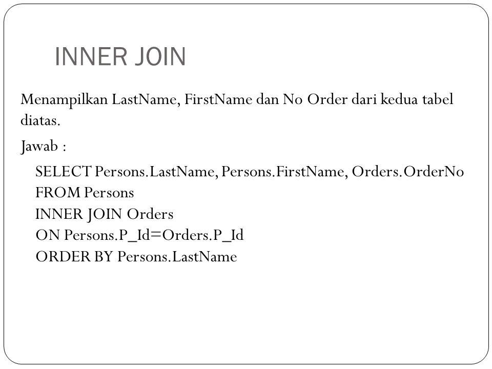 INNER JOIN Menampilkan LastName, FirstName dan No Order dari kedua tabel diatas.