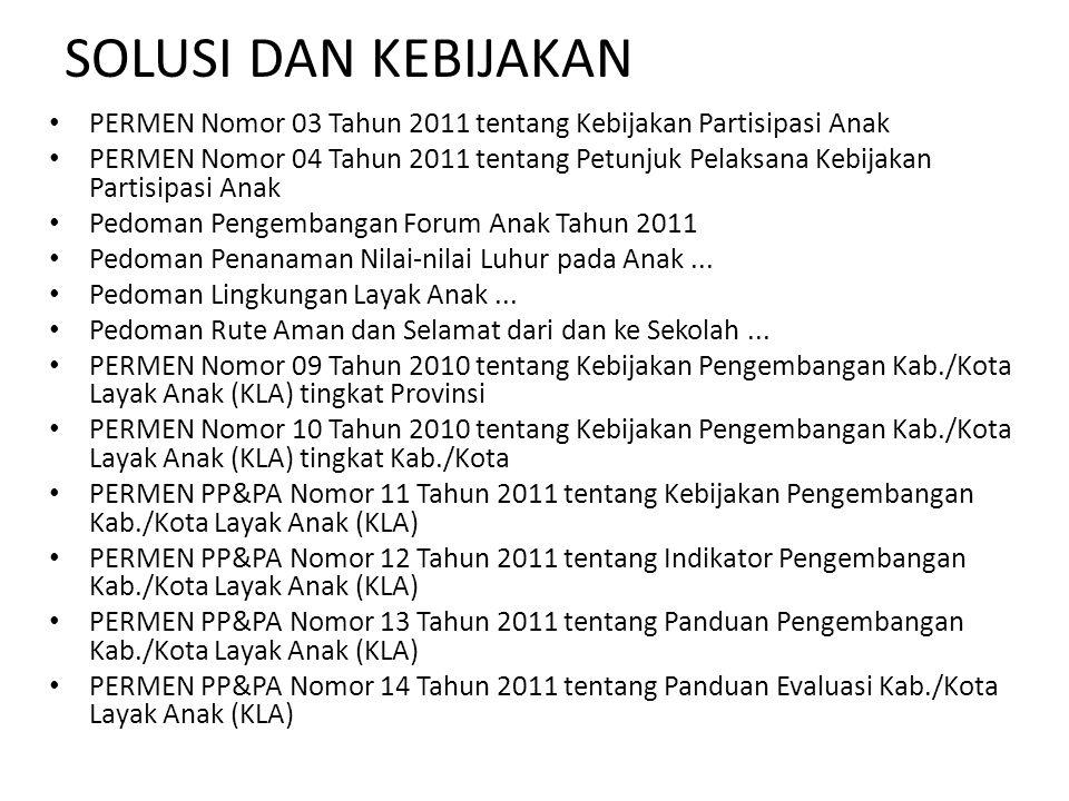 SOLUSI DAN KEBIJAKAN PERMEN Nomor 03 Tahun 2011 tentang Kebijakan Partisipasi Anak PERMEN Nomor 04 Tahun 2011 tentang Petunjuk Pelaksana Kebijakan Par
