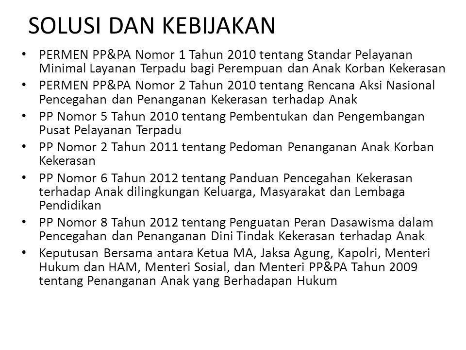 SOLUSI DAN KEBIJAKAN PERMEN PP&PA Nomor 1 Tahun 2010 tentang Standar Pelayanan Minimal Layanan Terpadu bagi Perempuan dan Anak Korban Kekerasan PERMEN