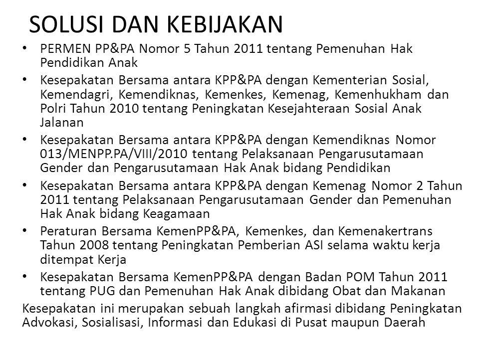 SOLUSI DAN KEBIJAKAN PERMEN PP&PA Nomor 5 Tahun 2011 tentang Pemenuhan Hak Pendidikan Anak Kesepakatan Bersama antara KPP&PA dengan Kementerian Sosial