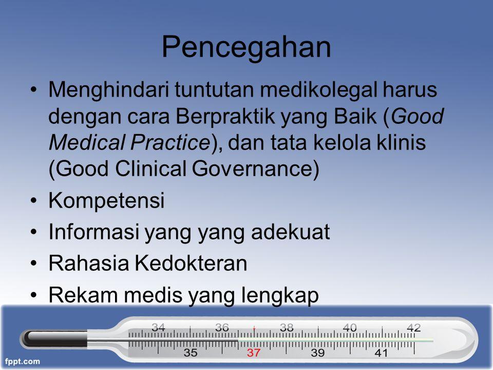 Pencegahan Menghindari tuntutan medikolegal harus dengan cara Berpraktik yang Baik (Good Medical Practice), dan tata kelola klinis (Good Clinical Gove