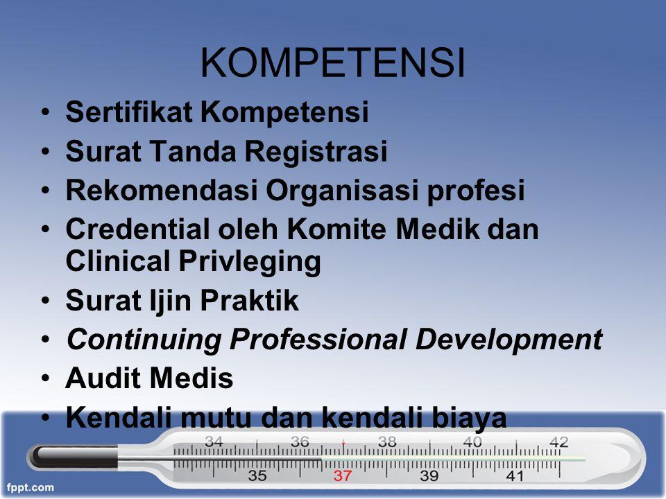 KOMPETENSI Sertifikat Kompetensi Surat Tanda Registrasi Rekomendasi Organisasi profesi Credential oleh Komite Medik dan Clinical Privleging Surat Ijin