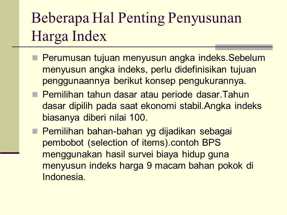 Beberapa Hal Penting Penyusunan Harga Index Perumusan tujuan menyusun angka indeks.Sebelum menyusun angka indeks, perlu didefinisikan tujuan penggunaa