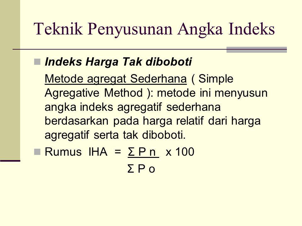 Teknik Penyusunan Angka Indeks Indeks Harga Tak diboboti Metode agregat Sederhana ( Simple Agregative Method ): metode ini menyusun angka indeks agreg