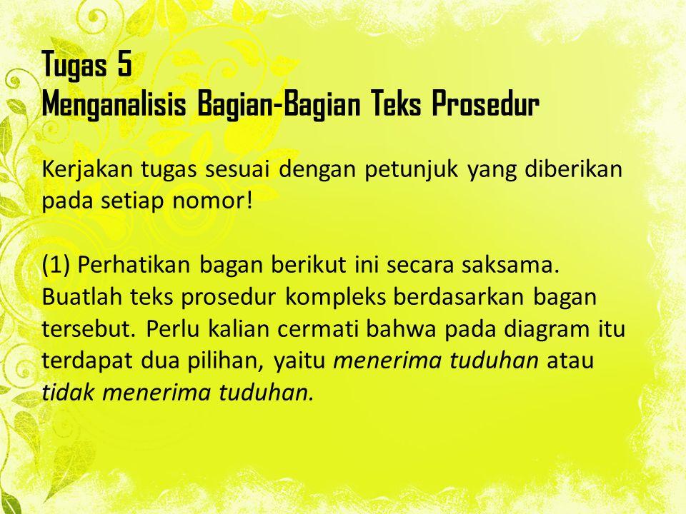 Tugas 5 Menganalisis Bagian-Bagian Teks Prosedur Kerjakan tugas sesuai dengan petunjuk yang diberikan pada setiap nomor! (1) Perhatikan bagan berikut
