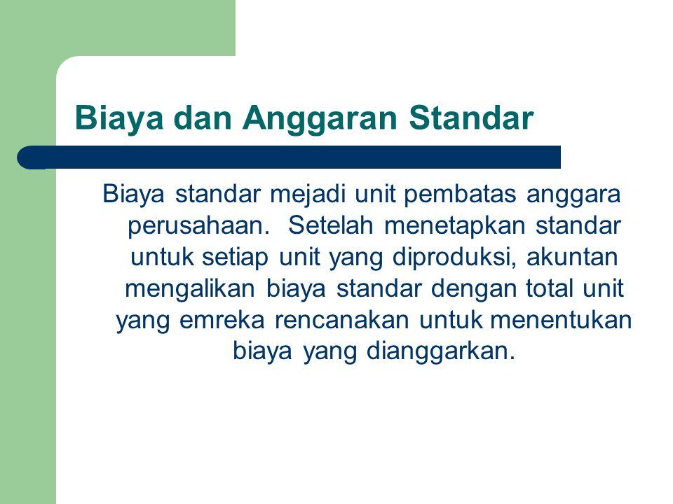 Biaya dan Anggaran Standar Biaya standar mejadi unit pembatas anggara perusahaan. Setelah menetapkan standar untuk setiap unit yang diproduksi, akunta
