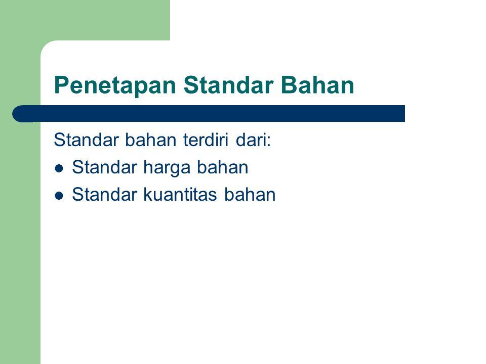 Penetapan Standar Bahan Standar bahan terdiri dari: Standar harga bahan Standar kuantitas bahan