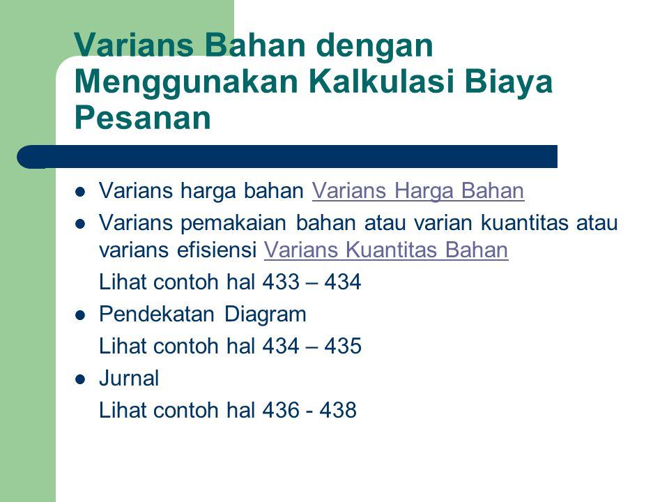 Varians Bahan dengan Menggunakan Kalkulasi Biaya Pesanan Varians harga bahan Varians Harga BahanVarians Harga Bahan Varians pemakaian bahan atau varia