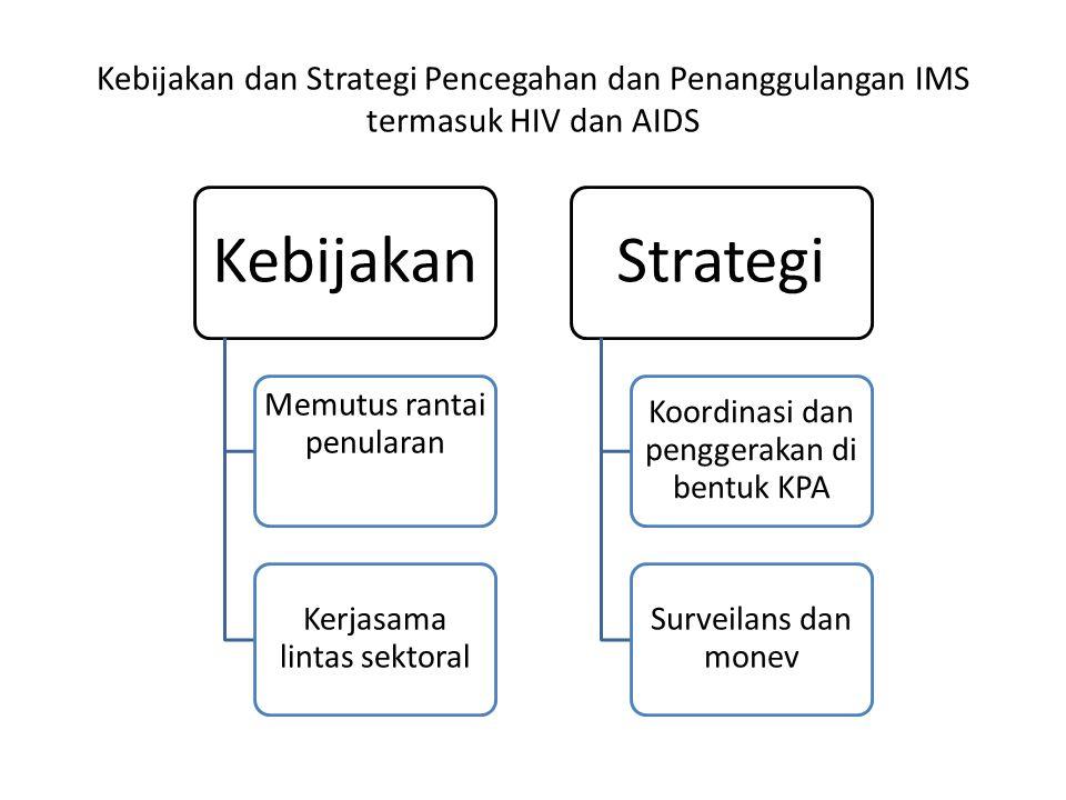 Kebijakan dan Strategi Pencegahan dan Penanggulangan IMS termasuk HIV dan AIDS Kebijakan Memutus rantai penularan Kerjasama lintas sektoral Strategi Koordinasi dan penggerakan di bentuk KPA Surveilans dan monev