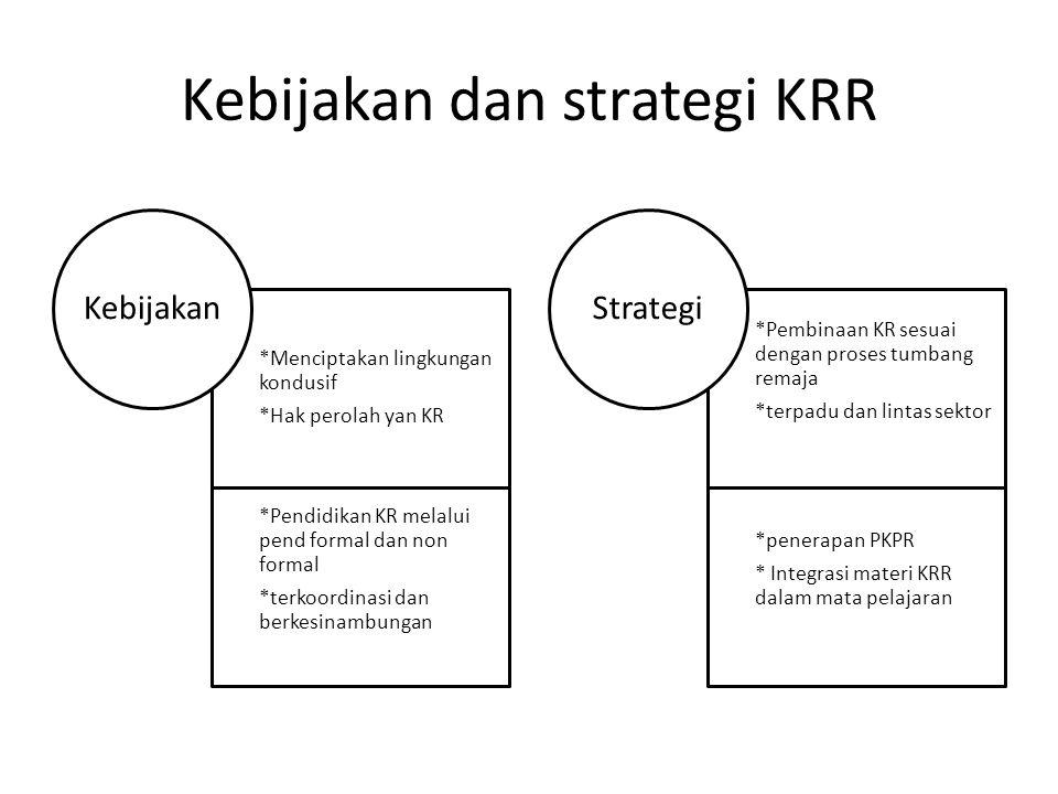 Kebijakan dan strategi KRR *Menciptakan lingkungan kondusif *Hak perolah yan KR *Pendidikan KR melalui pend formal dan non formal *terkoordinasi dan berkesinambungan Kebijakan *Pembinaan KR sesuai dengan proses tumbang remaja *terpadu dan lintas sektor *penerapan PKPR * Integrasi materi KRR dalam mata pelajaran Strategi