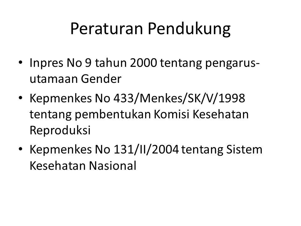 Peraturan Pendukung Inpres No 9 tahun 2000 tentang pengarus- utamaan Gender Kepmenkes No 433/Menkes/SK/V/1998 tentang pembentukan Komisi Kesehatan Reproduksi Kepmenkes No 131/II/2004 tentang Sistem Kesehatan Nasional