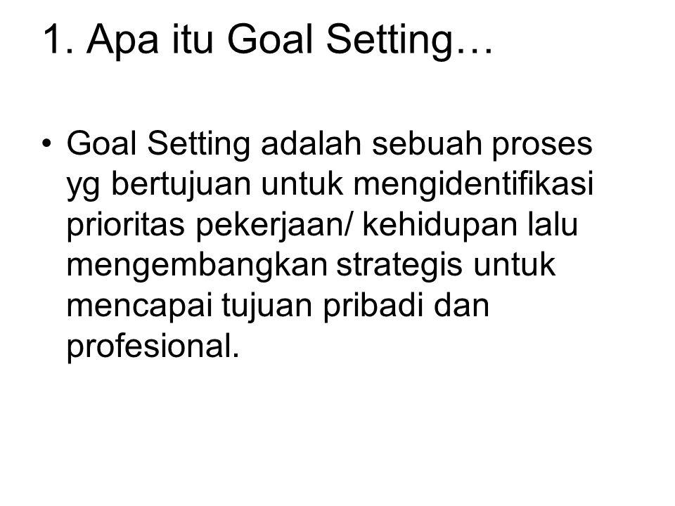 1. Apa itu Goal Setting… Goal Setting adalah sebuah proses yg bertujuan untuk mengidentifikasi prioritas pekerjaan/ kehidupan lalu mengembangkan strat