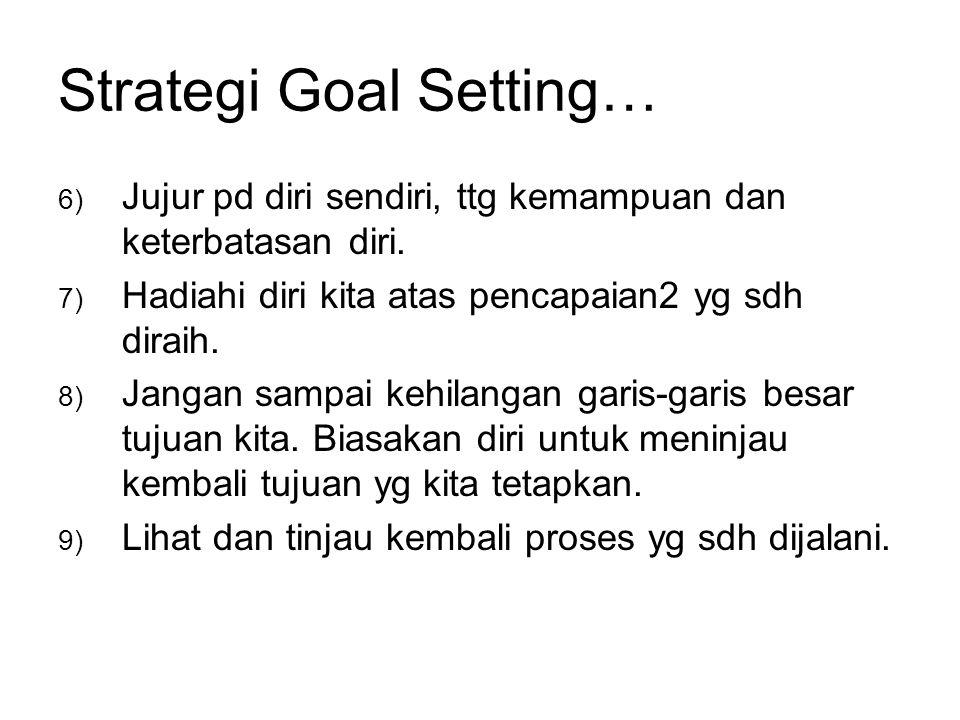 Strategi Goal Setting… 6) Jujur pd diri sendiri, ttg kemampuan dan keterbatasan diri. 7) Hadiahi diri kita atas pencapaian2 yg sdh diraih. 8) Jangan s