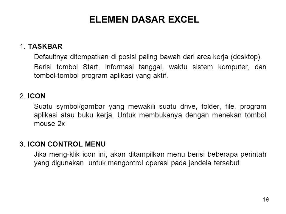 19 1. TASKBAR Defaultnya ditempatkan di posisi paling bawah dari area kerja (desktop). Berisi tombol Start, informasi tanggal, waktu sistem komputer,