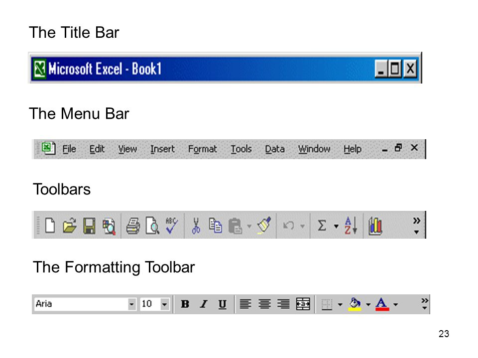 23 The Title Bar The Menu Bar Toolbars The Formatting Toolbar