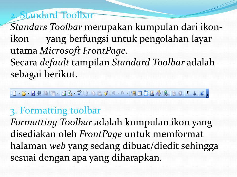 2. Standard Toolbar Standars Toolbar merupakan kumpulan dari ikon- ikon yang berfungsi untuk pengolahan layar utama Microsoft FrontPage. Secara defaul