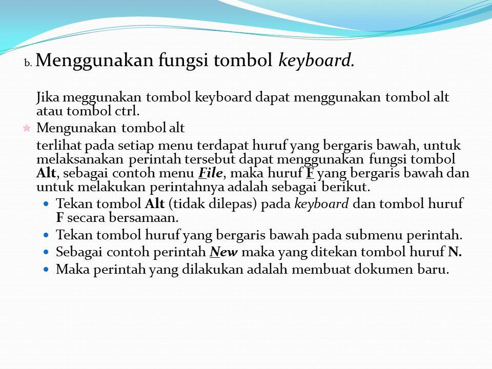 b.Menggunakan fungsi tombol keyboard.
