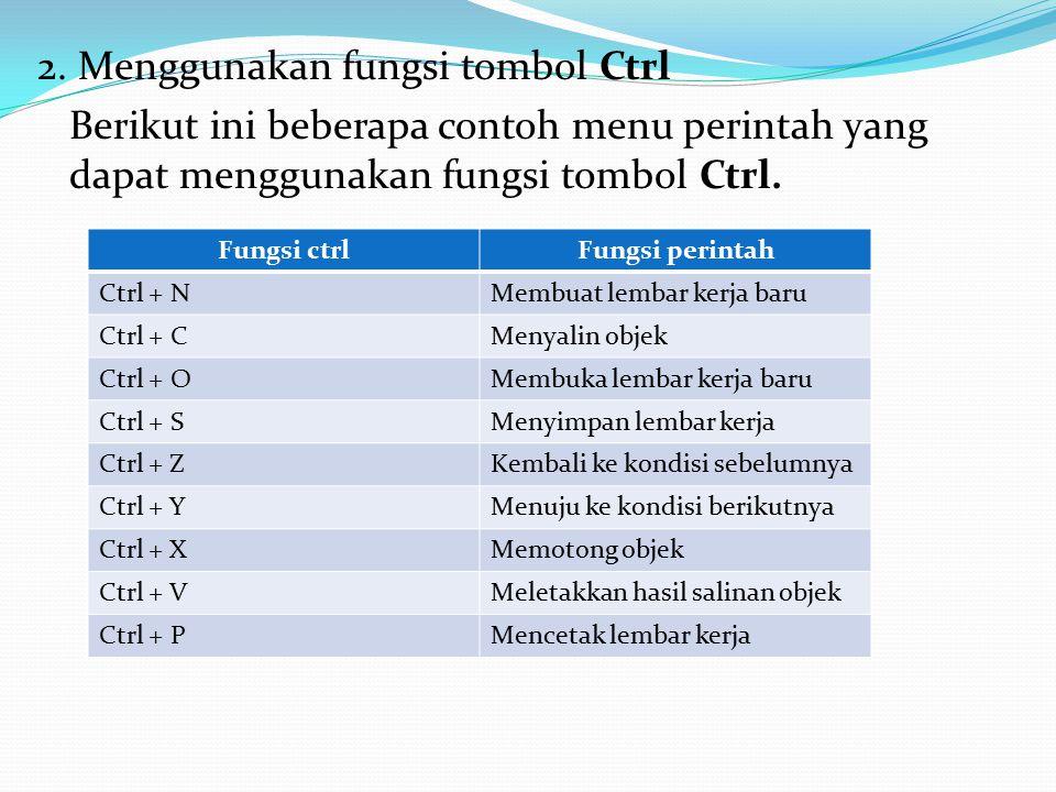 2. Menggunakan fungsi tombol Ctrl Berikut ini beberapa contoh menu perintah yang dapat menggunakan fungsi tombol Ctrl. Fungsi ctrlFungsi perintah Ctrl