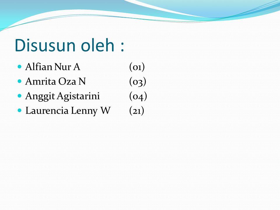 Disusun oleh : Alfian Nur A (01) Amrita Oza N(03) Anggit Agistarini(04) Laurencia Lenny W(21)