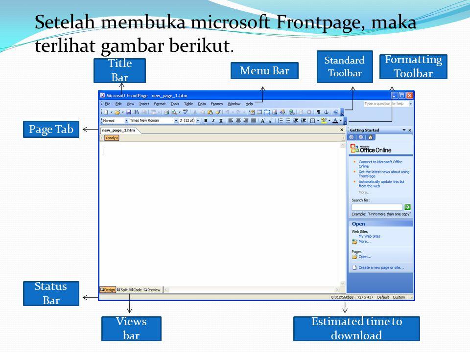 Setelah membuka microsoft Frontpage, maka terlihat gambar berikut.