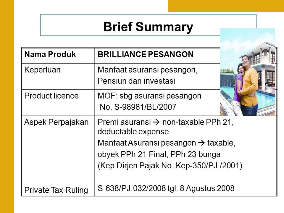 Brief Summary Nama ProdukBRILLIANCE PESANGON KeperluanManfaat asuransi pesangon, Pensiun dan investasi Product licenceMOF: sbg asuransi pesangon No. S