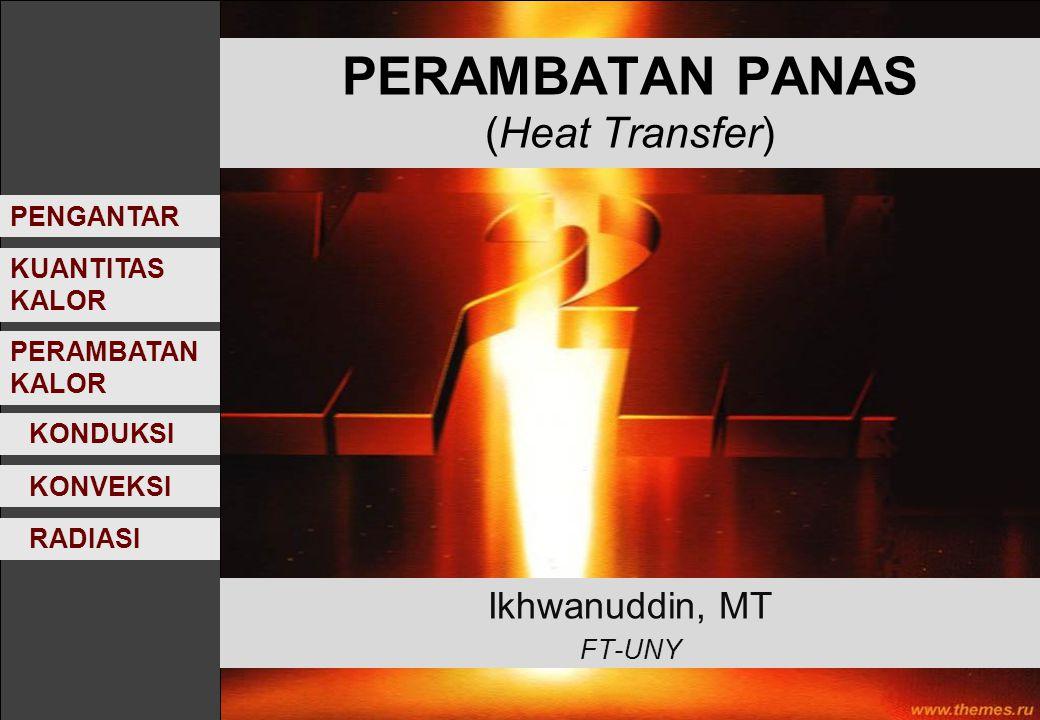 PERAMBATAN PANAS (Heat Transfer) Ikhwanuddin, MT FT-UNY KONVEKSI KONDUKSI RADIASI KUANTITAS KALOR PENGANTAR PERAMBATAN KALOR