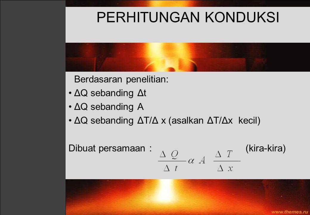 PERHITUNGAN KONDUKSI Berdasaran penelitian: ΔQ sebanding Δt ΔQ sebanding A ΔQ sebanding ΔT/Δ x (asalkan ΔT/Δx kecil) Dibuat persamaan : (kira-kira)