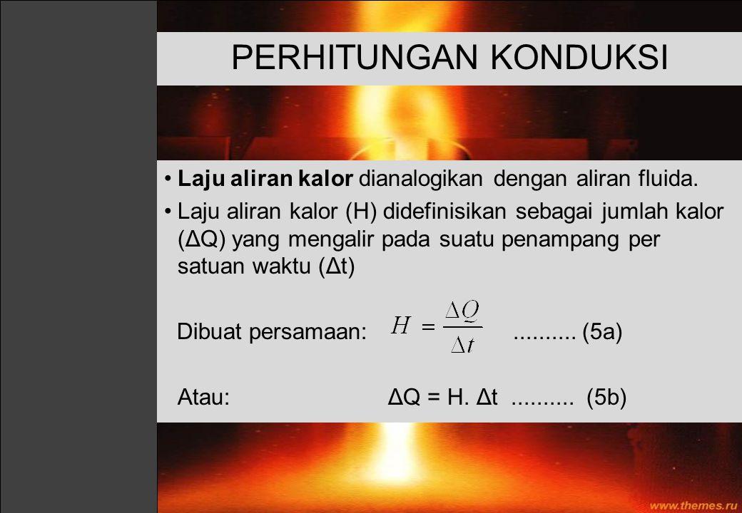 PERHITUNGAN KONDUKSI Laju aliran kalor dianalogikan dengan aliran fluida. Laju aliran kalor (H) didefinisikan sebagai jumlah kalor (ΔQ) yang mengalir