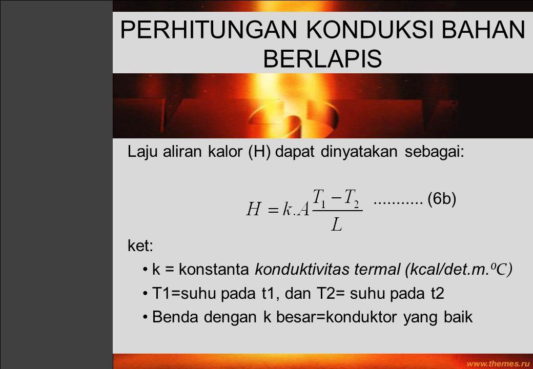 PERHITUNGAN KONDUKSI BAHAN BERLAPIS Laju aliran kalor (H) dapat dinyatakan sebagai:........... (6b) ket: k = konstanta konduktivitas termal (kcal/det.