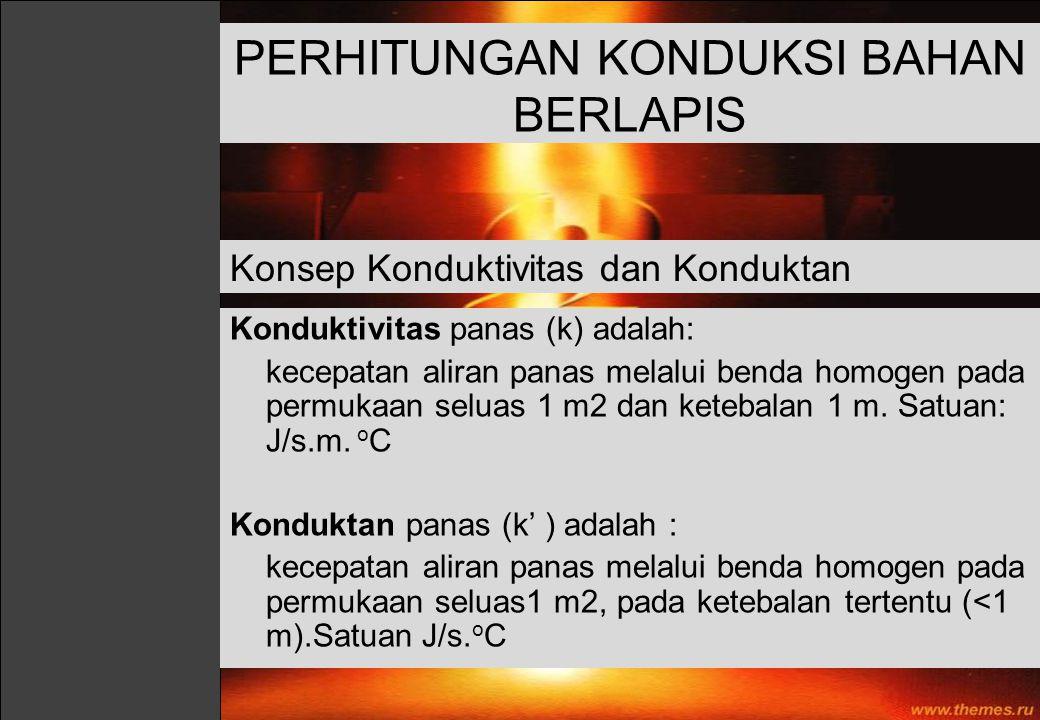 Konduktivitas panas (k) adalah: kecepatan aliran panas melalui benda homogen pada permukaan seluas 1 m2 dan ketebalan 1 m. Satuan: J/s.m. o C Kondukta